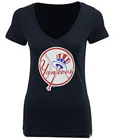 '47 Brand Women's New York Yankees Alternate Logo Splitter V Neck T-Shirt
