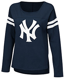 G-III Sports Women's New York Yankees Free Agent Glitter Long Sleeve T-Shirt
