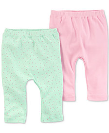 Carters Little Planet Organics  2-Pack Cotton Pants, Baby Girls