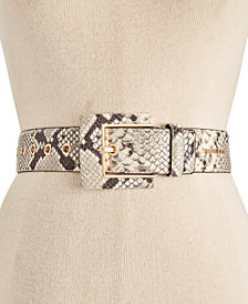 MICHAEL Michael Kors Python-Embossed Leather Waist Belt
