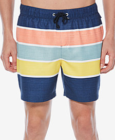"Original Penguin Men's Colorblocked Stripe 6"" Swim Trunks"