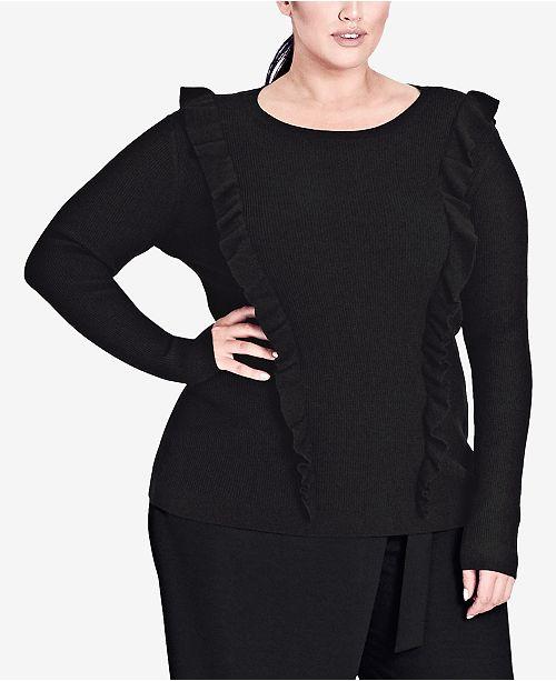 Trendy Plus Size Ruffled Sweater