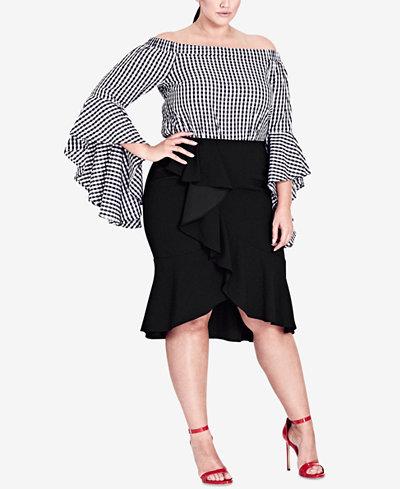 City Chic Trendy Plus Size Asymmetrical Ruffled Skirt