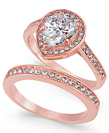 Charter Club Rose Gold-Tone 2-Pc. Set Cubic Zirconia Teardrop Ring & Band, Created for Macy's