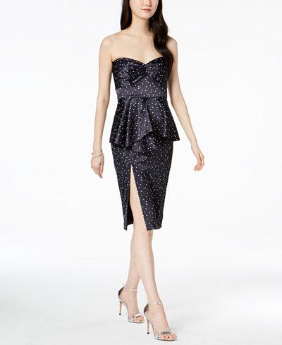 Bardot Polka Dot Satin Peplum Dress
