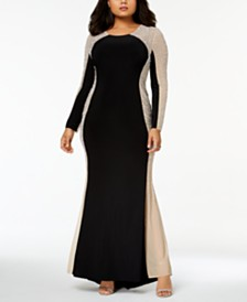 Xscape Trendy Plus Size Beaded Illusion Gown