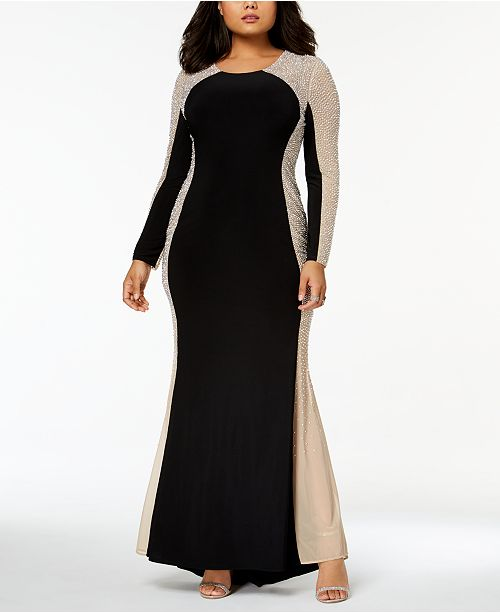 XSCAPE Trendy Plus Size Beaded Illusion Gown & Reviews ...