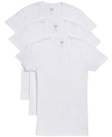 Men's Slim-Fit Deep V-Neck 3 Pack Undershirt