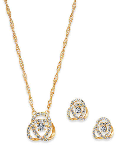 Charter Club Gold-Tone Pavé Knot Pendant Necklace & Stud Earrings Set, Created for Macy's