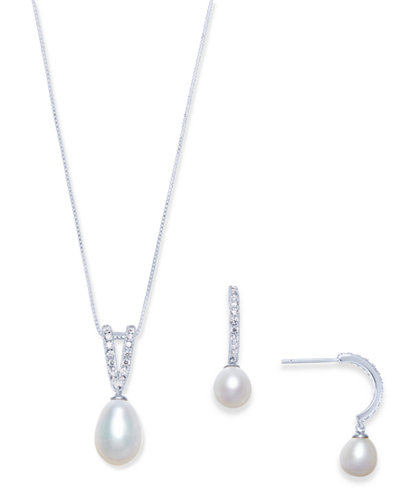 Cultured Freshwater Pearl (9 x 10mm & 7 x 9mm) & Cubic Zirconia Jewelry Set in Sterling Silver