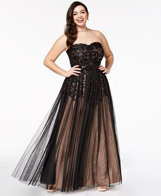 City Chic Trendy Plus Size Strapless Tulle Overlay Ball Gown Women