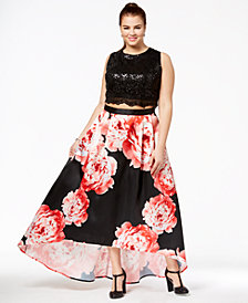City Studios Trendy Plus Size 2-Pc. Sequined & Floral-Print Gown