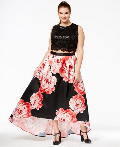 City Studios Trendy Plus Size 2-Pc. Sequined & Floral-Print Gown