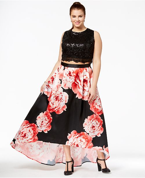 Trendy Plus Size 2-Pc. Sequined & Floral-Print Gown