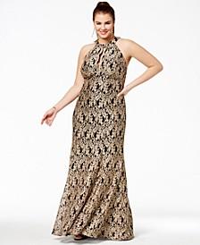 Trendy Plus Size Metallic Lace Halter Gown