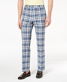 Men's Classic-Fit Blue Plaid Madras Dress Pants