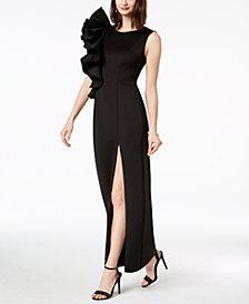 Betsy & Adam Ruffle-Shoulder Gown