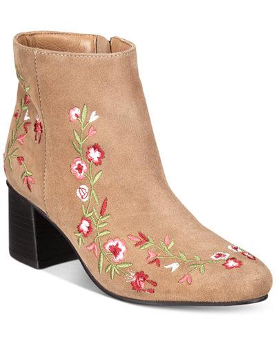 Callisto Veronaa Embroidered Block-Heel Booties