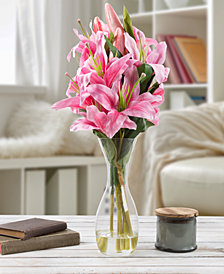 Pure Garden Tall Pink Lily Floral Arrangement with Vase