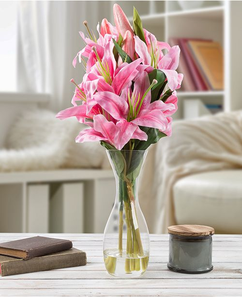 "Trademark Global Pure Garden Tall Pink Lily Floral Arrangement with Vase, 21.5"" x 4"" x 4"""