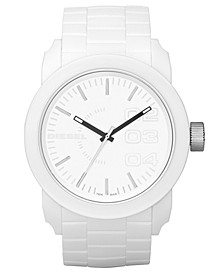 Unisex White Silicone Strap Watch 44mm DZ1436