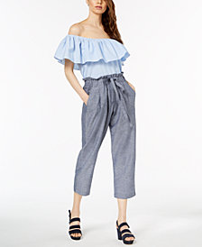 Jill Jill Stuart Off-The-Shoulder Top & Cropped Pants, Created for Macy's