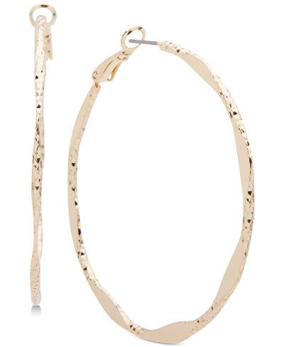 Anne Klein Gold-Tone Twisted Hoop Earrings