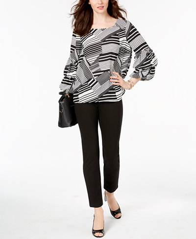 Alfani Balloon-Sleeve Blouse & Slim-Leg Pants, Created for Macy's