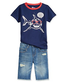 Epic Threads Shark-Print T-Shirt & Denim Shorts Separates, Toddler Boys, Created for Macy's