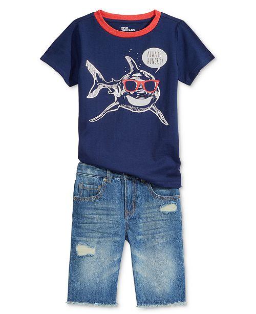 Epic Threads Shark-Print T-Shirt & Denim Shorts Separates, Little Boys, Created for Macy's