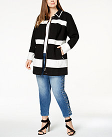 I.N.C. Plus Size Mixed-Media Striped Jacket, Created for Macy's