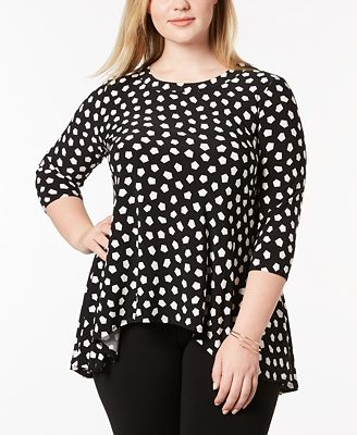 Anne Klein Plus Size Printed High Low Top Tops Plus Sizes Macy S