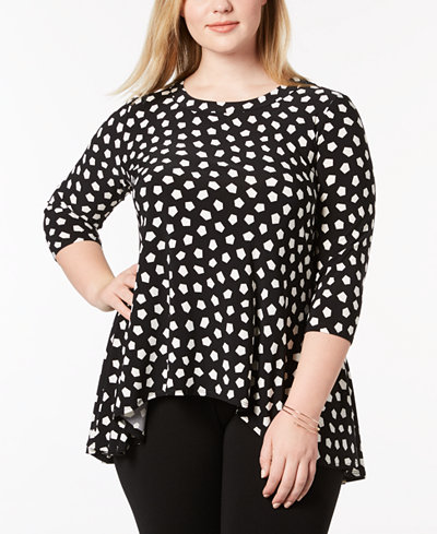 Anne Klein Plus Size Printed High-Low Top