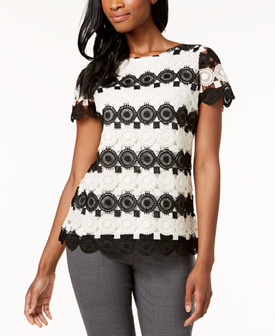 Charter Club Petite Colorblocked Lace Top, Created for Macy's