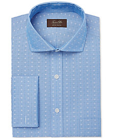 Tasso Elba Men's Classic/Regular Fit Non-Iron Multi Diamond Dobby French Cuff Dress Shirt, Created for Macy's