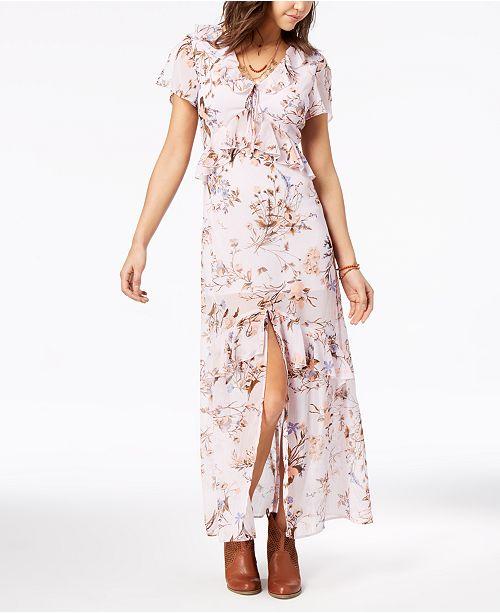 ... American Rag Juniors  Printed Ruffle Maxi Dress b035b1b72