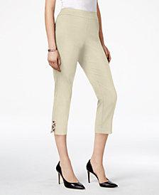 JM Collection Petite Embellished Lattice Capri Pants, Created for Macy's