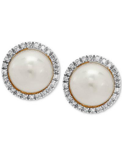 Cultured Freshwater Pearl (8mm) & Diamond (1/8 ct. t.w.) Halo Stud Earrings in 10k Gold