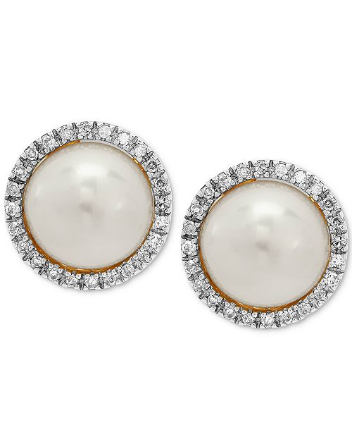 Honora Cultured Freshwater Pearl (8mm) & Diamond (1/8 ct. t.w.) Halo Stud Earrings in 10k Gold