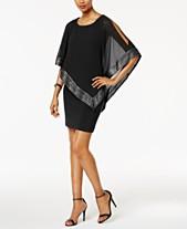 39731da17ff4d SL Fashions Metallic-Trim Capelet Sheath Dress