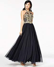 Blondie Nites Juniors' Embellished Halter Gown