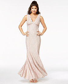 Morgan & Company Juniors' Scalloped Glitter Lace Gown