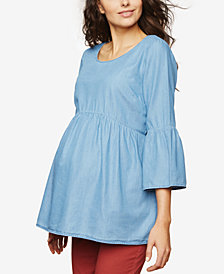 Motherhood Maternity Chambray Bell-Sleeve Top