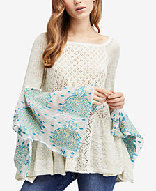 Free People Pointelle-Knit Bell-Sleeve Sweater