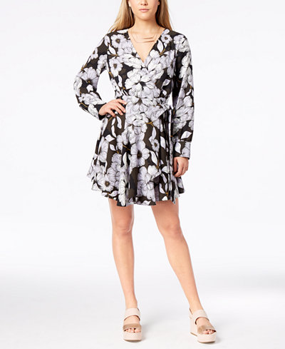 Bar III Printed Wrap Dress, Created for Macy's