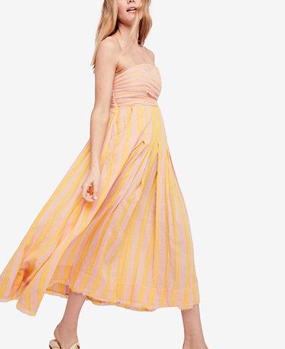 Free People Stripe Me Up Cotton Strapless Midi Dress