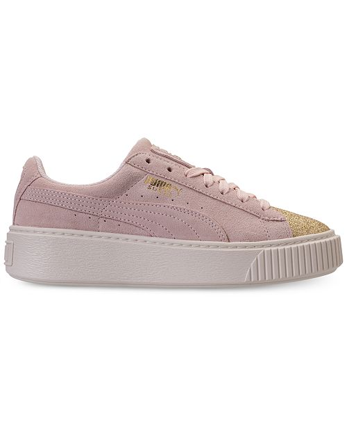 c83b9427f55374 Puma Big Girls  Suede Platform Glam Casual Sneakers from Finish ...