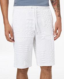 Versace Men's Stretch White Embossed Drawstring Shorts