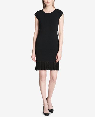 Calvin Klein Pleated-Hem Sweater Dress