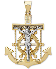 Men's Mariner Cross Pendant in 14k Gold & White Gold